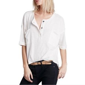 Free People Oversized Henley Style Button Tee